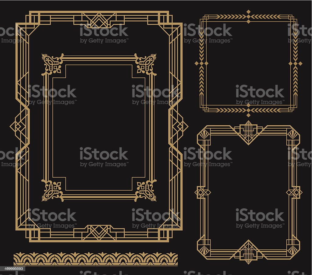 Set of art frames with various designs vector art illustration