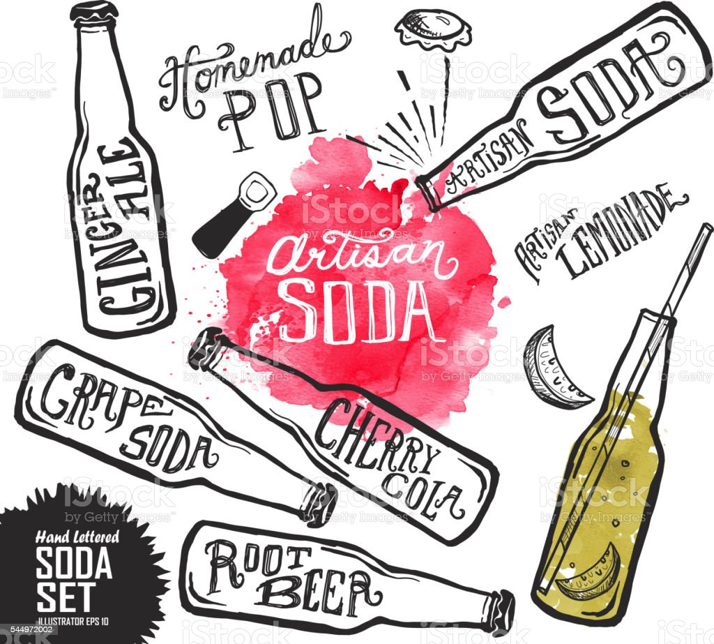 Set of Artisan soda pop label and bottle on watercolor vector art illustration