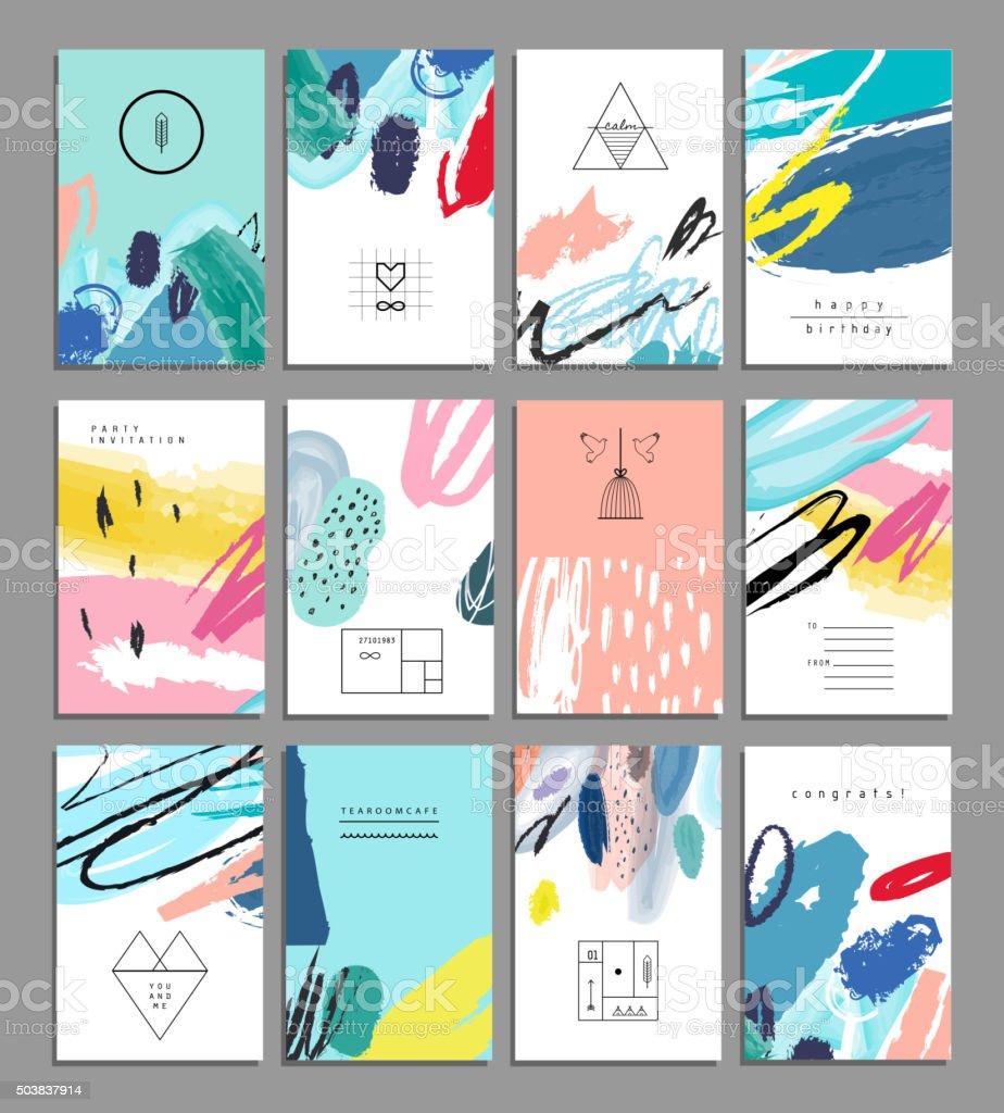 Set of artistic creative universal cards. Hand Drawn textures. vector art illustration