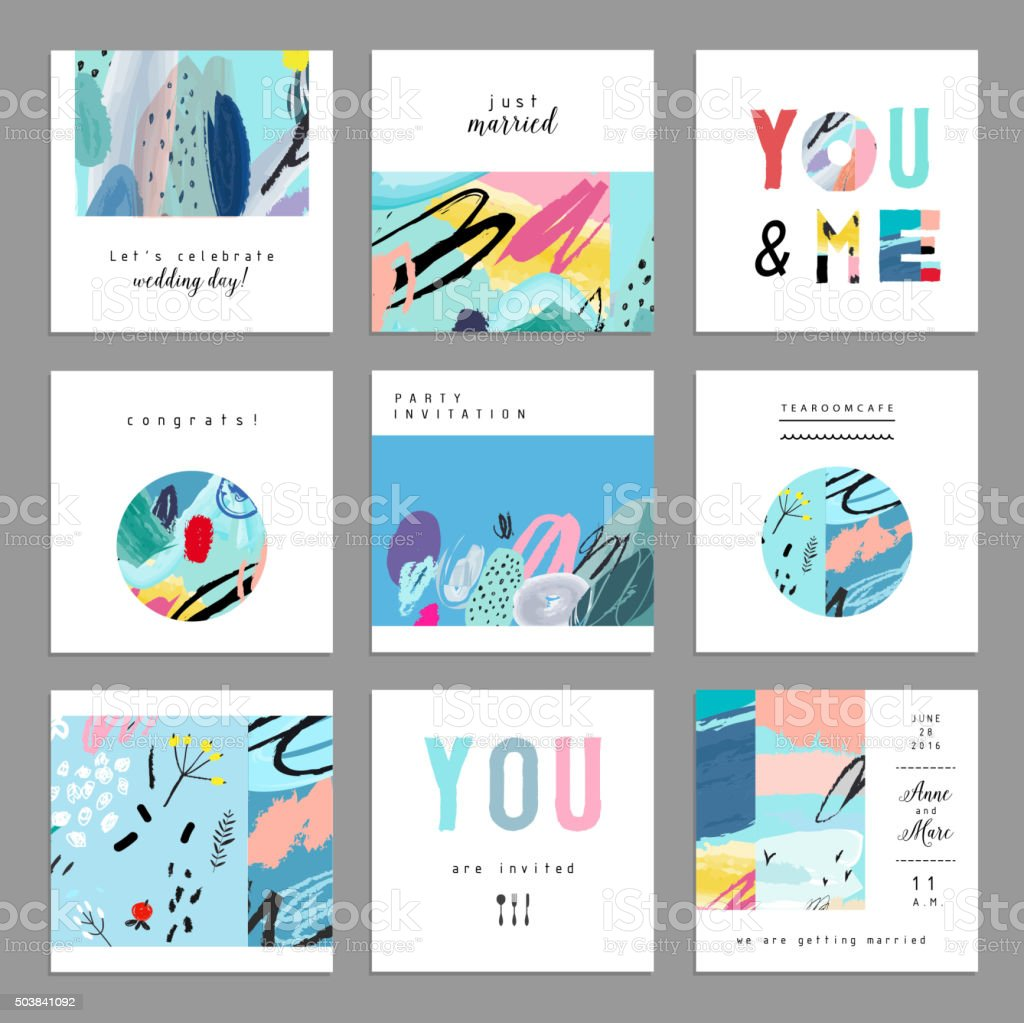 Set of artistic creative universal cards. Hand Drawn textures. vector art illustration