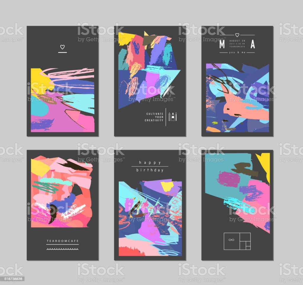 Set of artistic creative universal cards. vector art illustration