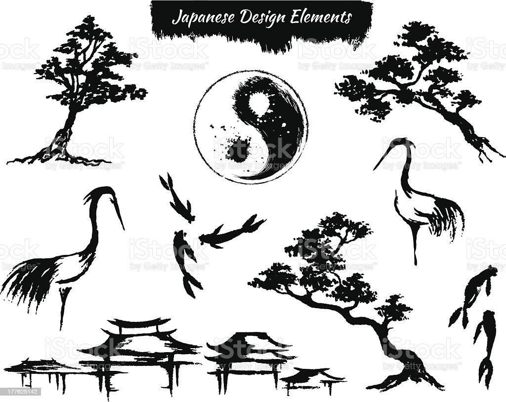 Set of asian design elements royalty-free stock vector art