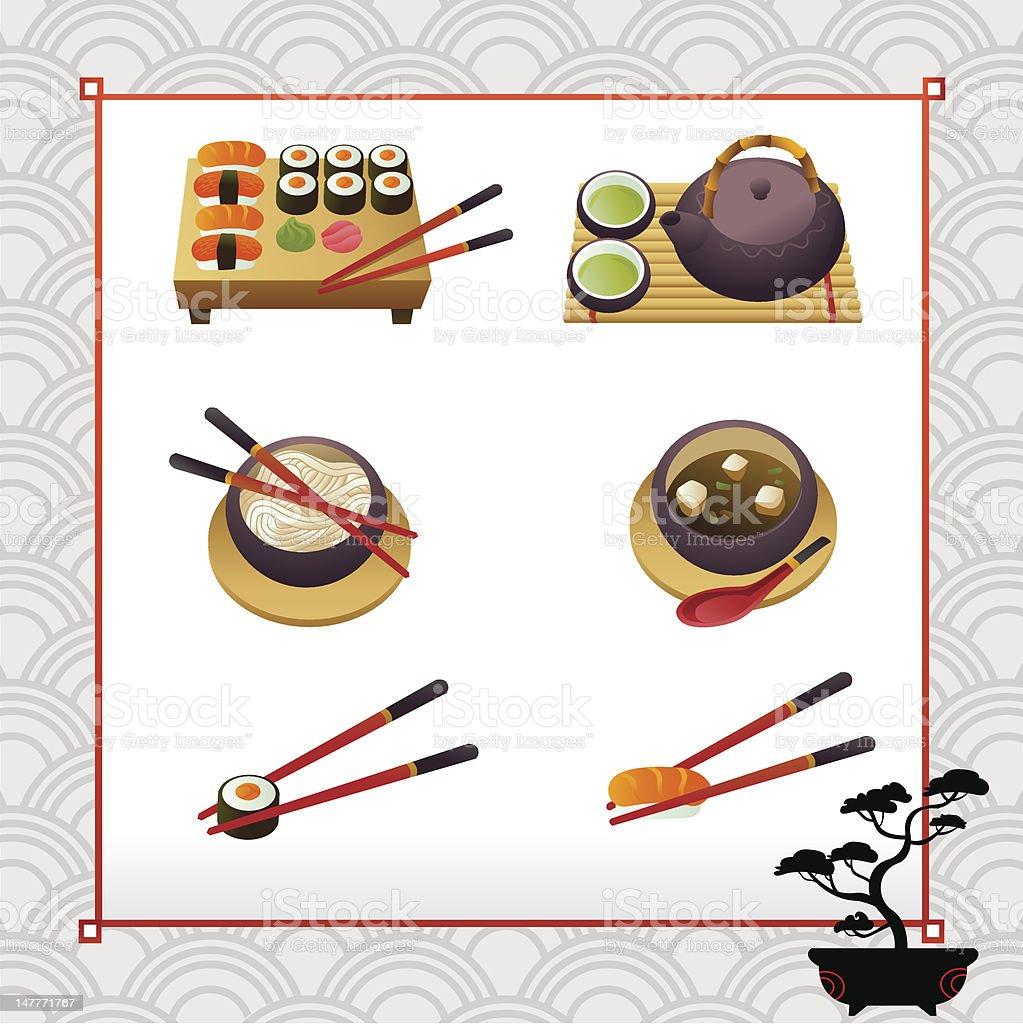 Set of asian dishes vector art illustration