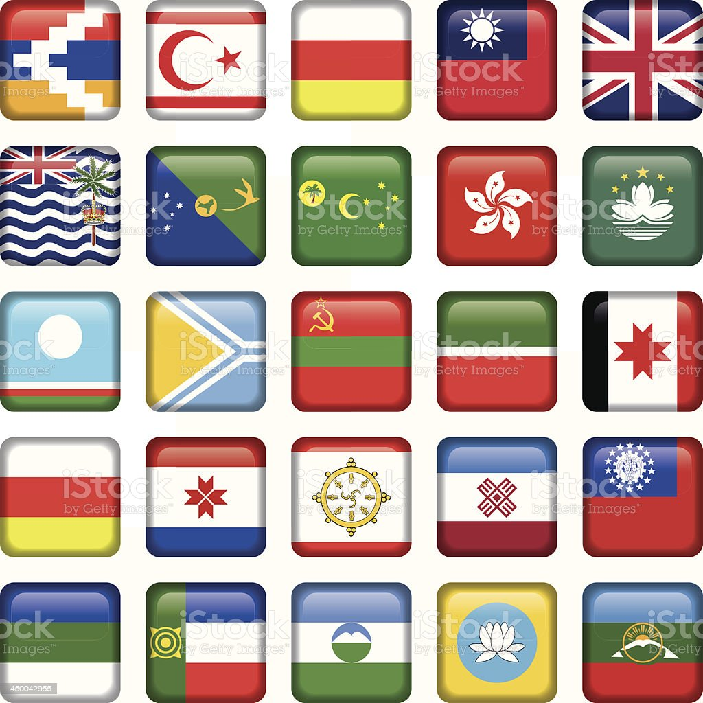 Set of Asian Squared Flags vector art illustration