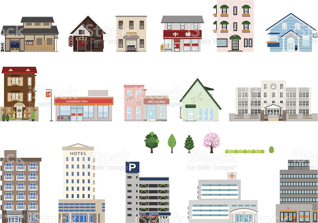 Set of assorted building icons vector art illustration