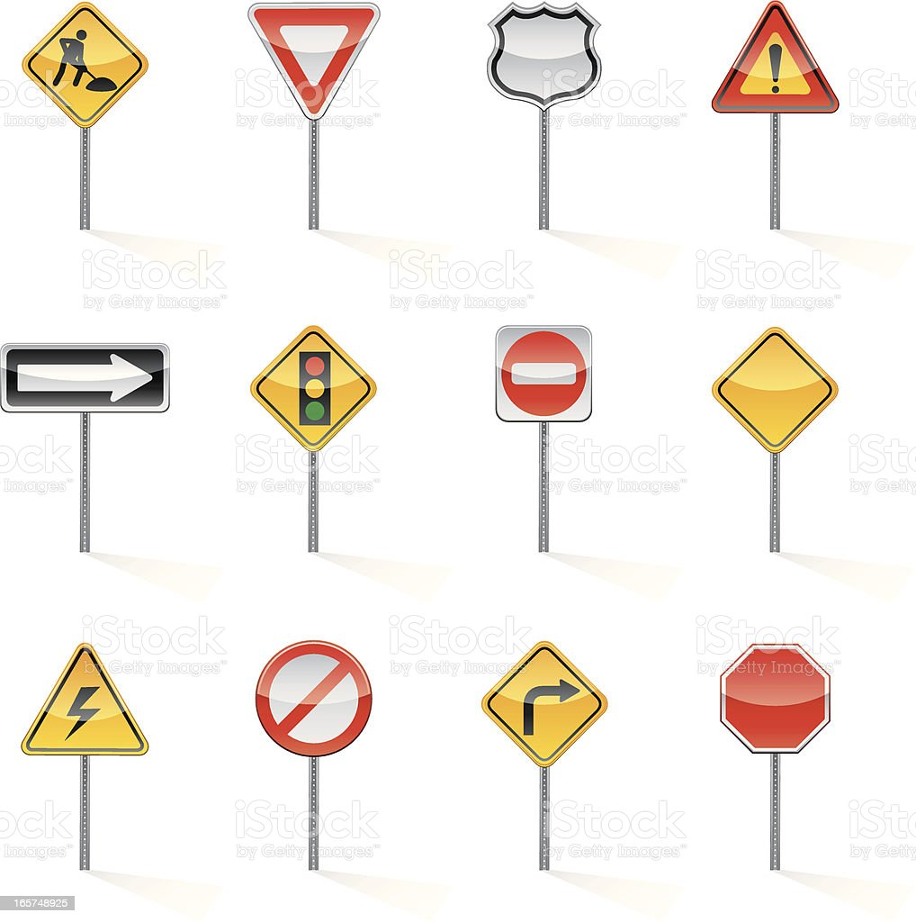 Set of assorted colorful road signs vector art illustration