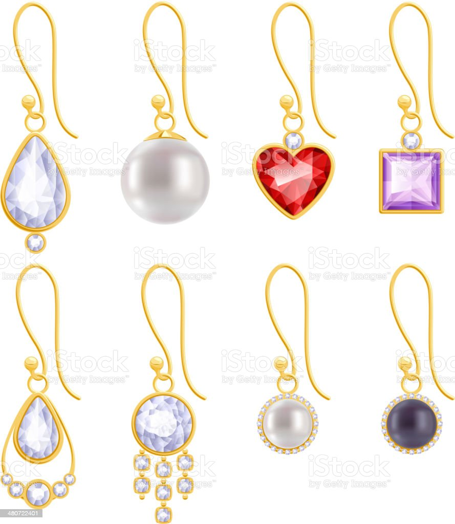 Set of assorted golden earrings with gemstones and pearls. vector art illustration