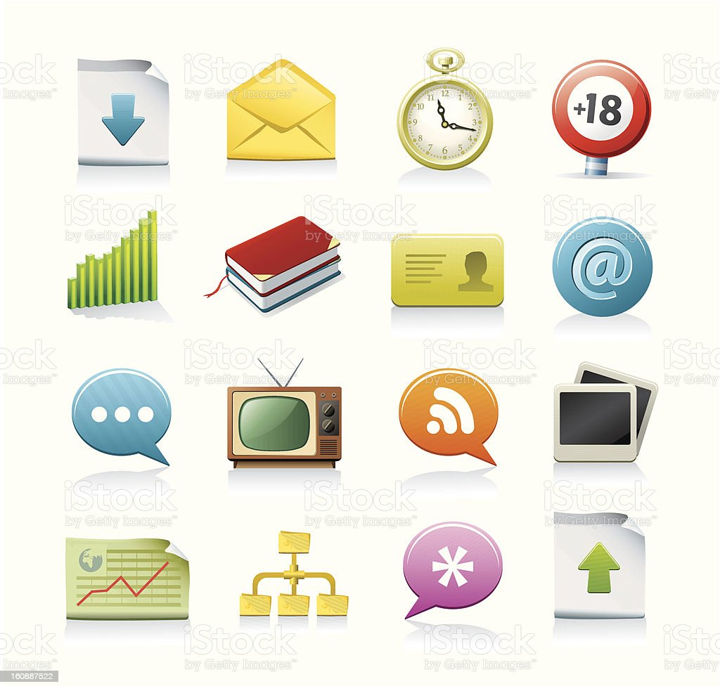 Set of assorted internet and web icons vector art illustration