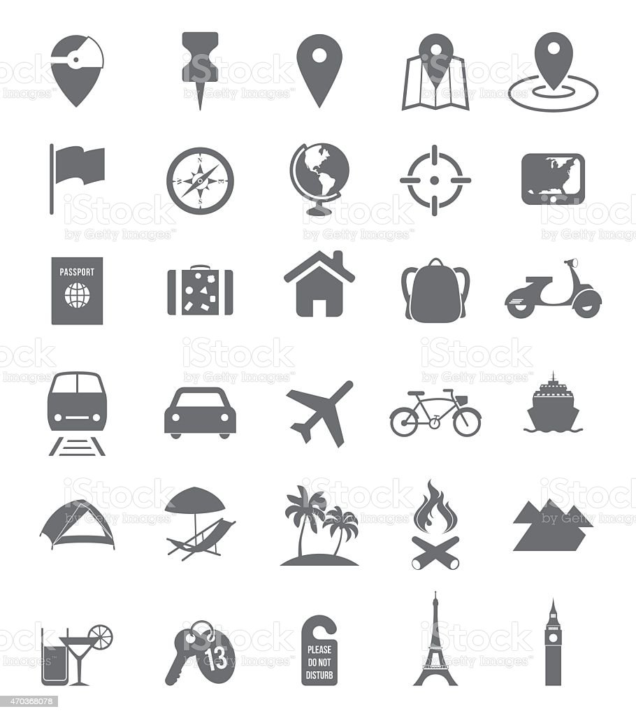Set of assorted travel icons in white background vector art illustration