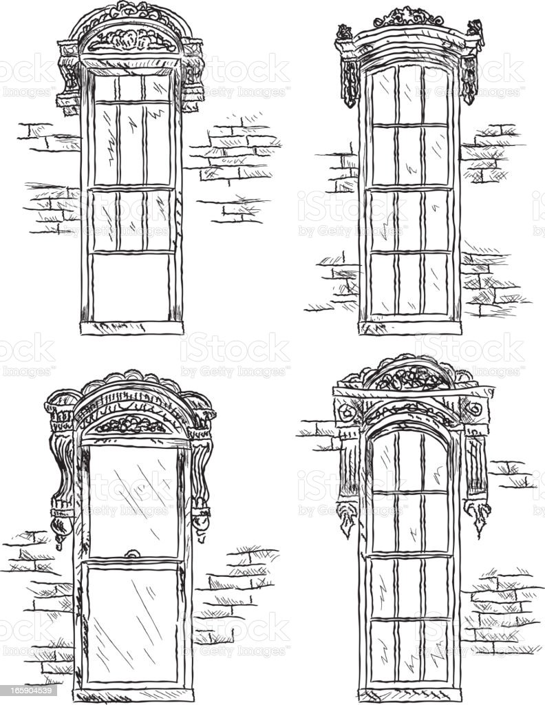 Set of assorted Victorian style windows vector art illustration