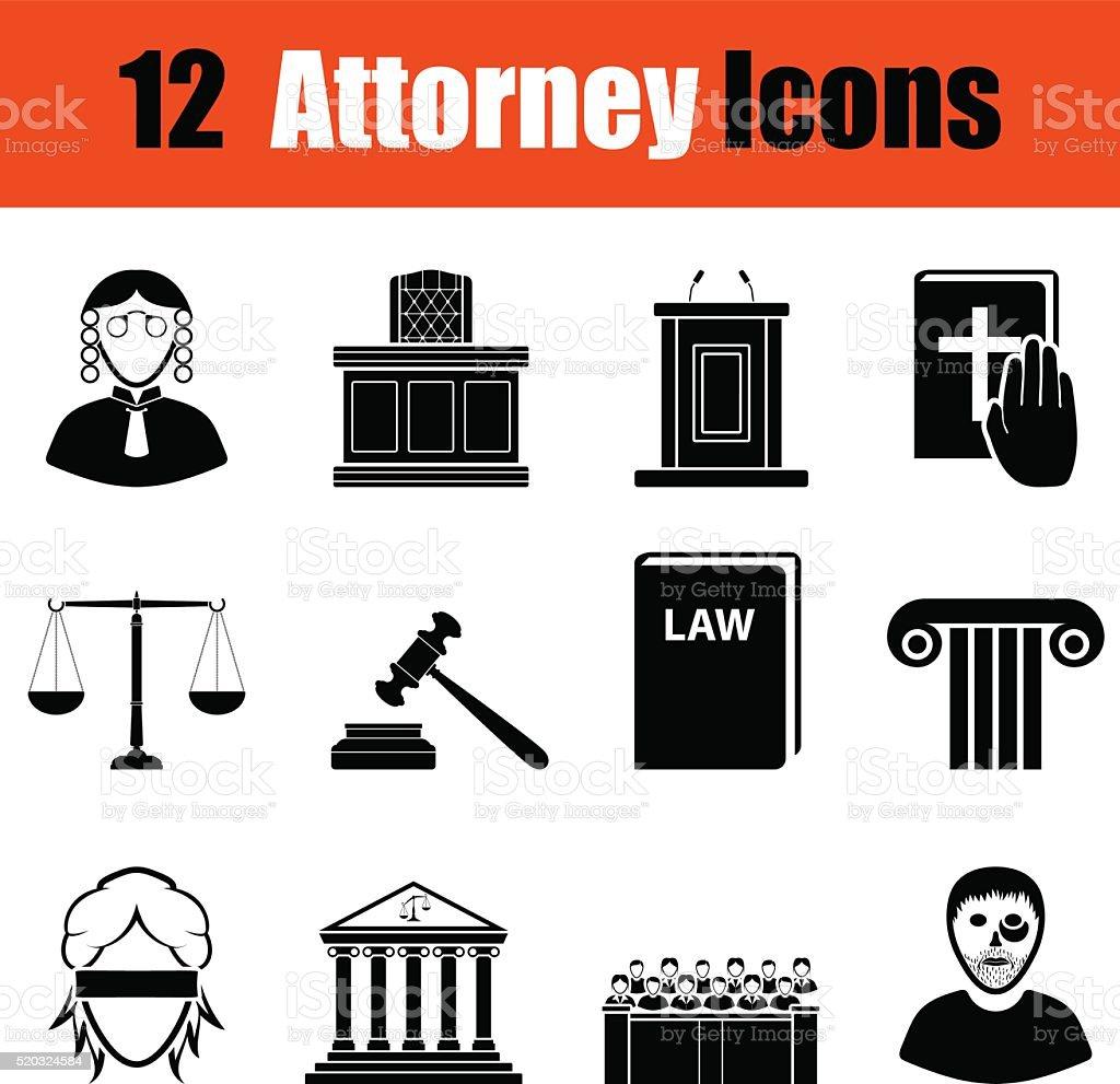 Set of attorney  icons vector art illustration