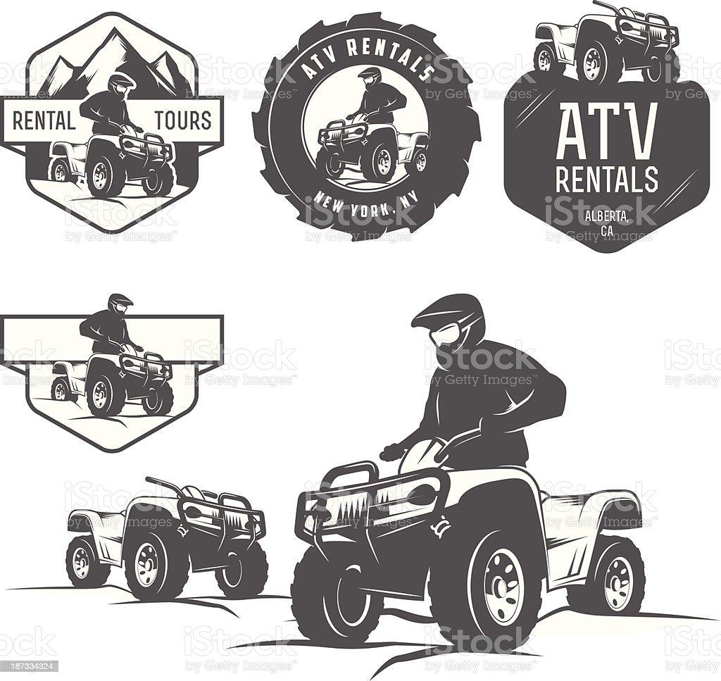 Set of ATV labels, badges and design elements vector art illustration