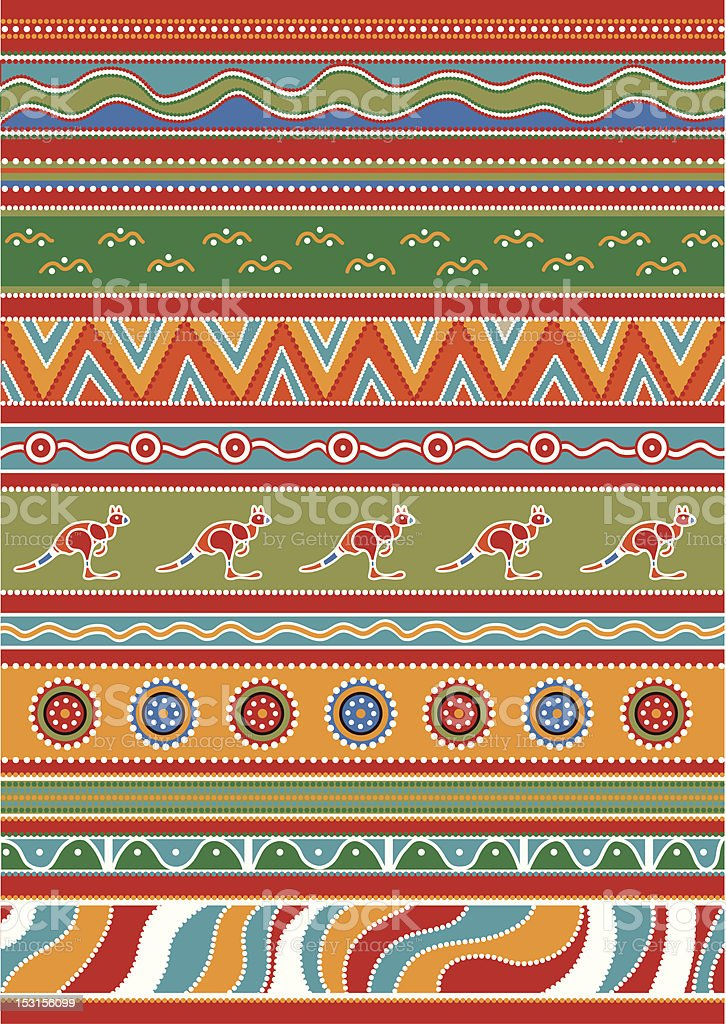 Set of Australian patterns vector art illustration