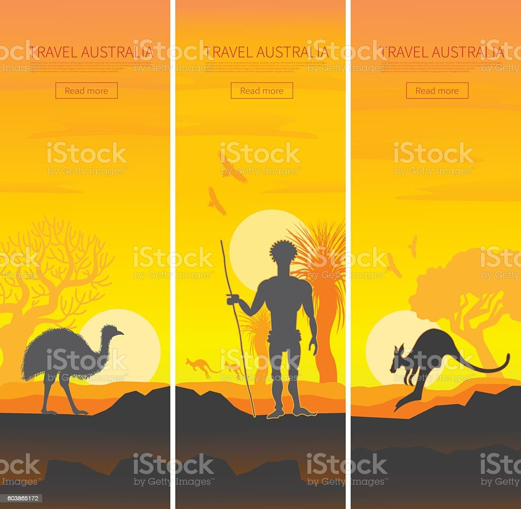 Set of Australian travel posters vector art illustration