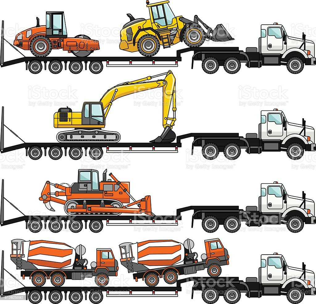 Set of auto transporter and heavy construction machines. Vector illustration. vector art illustration