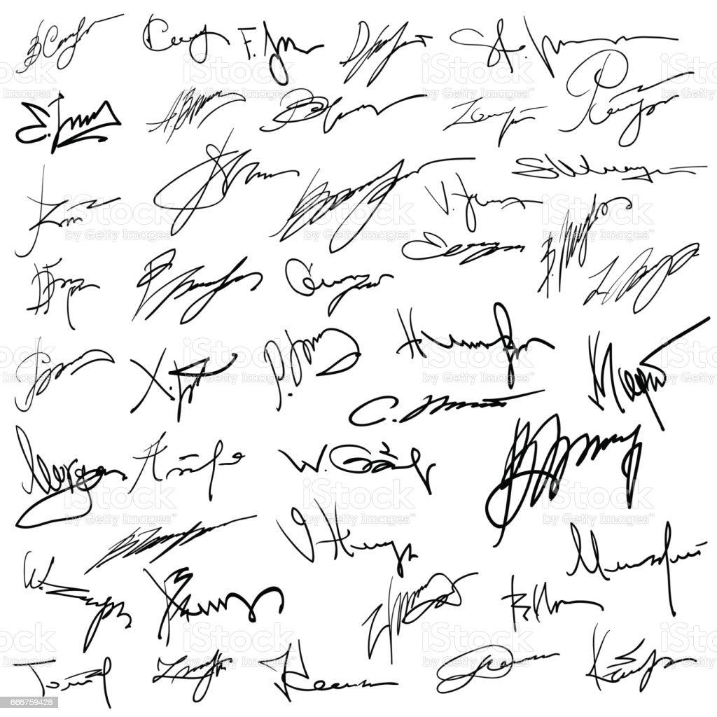 Set of autographs on paper vector art illustration