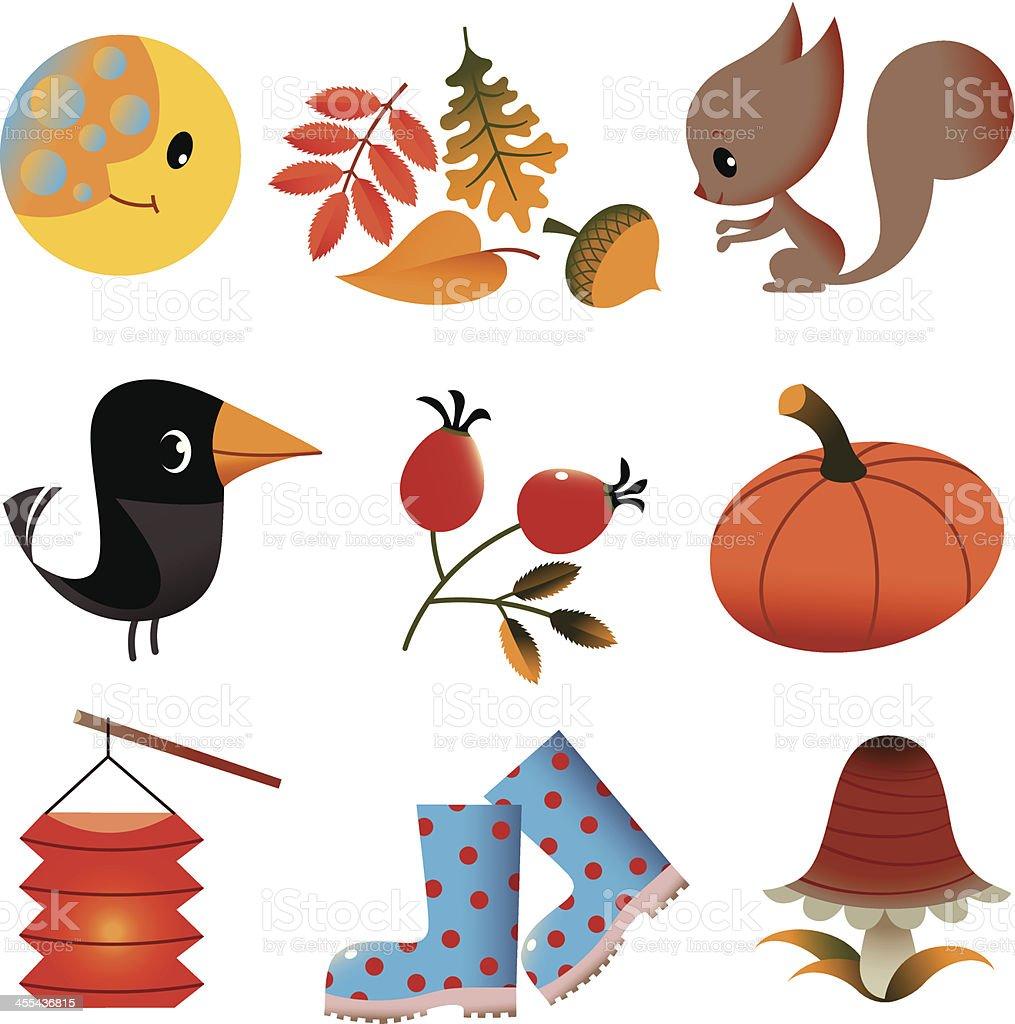 Set of Autumn Stuff. vector art illustration