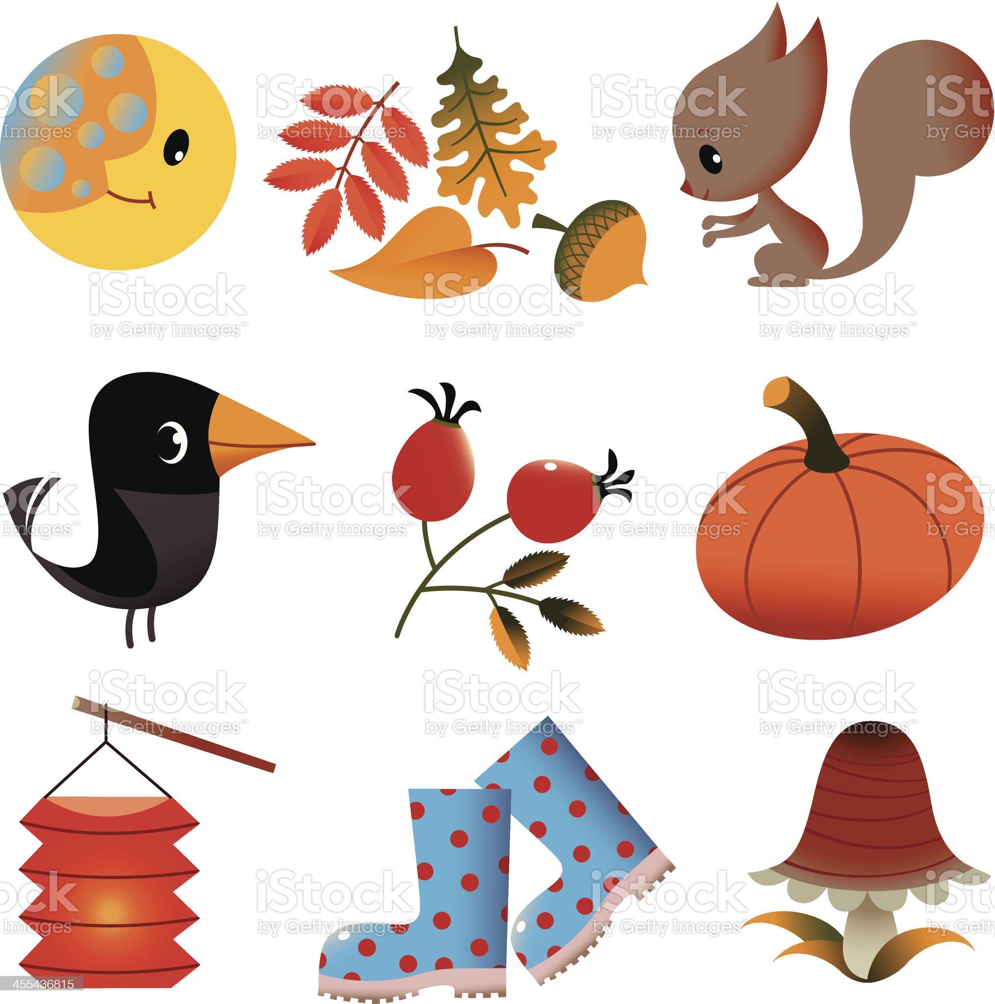Set of Autumn Stuff. royalty-free stock vector art