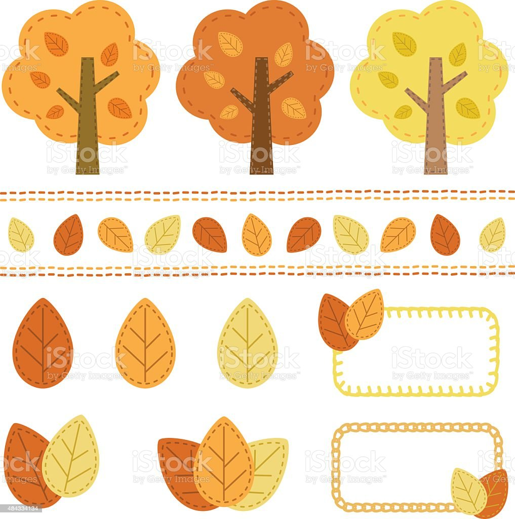 Set of autumn tree element, a handicraft style vector art illustration