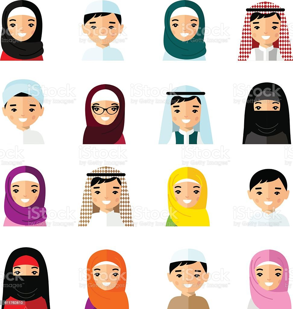 Set of avatar arab people in flat colorful style vector art illustration