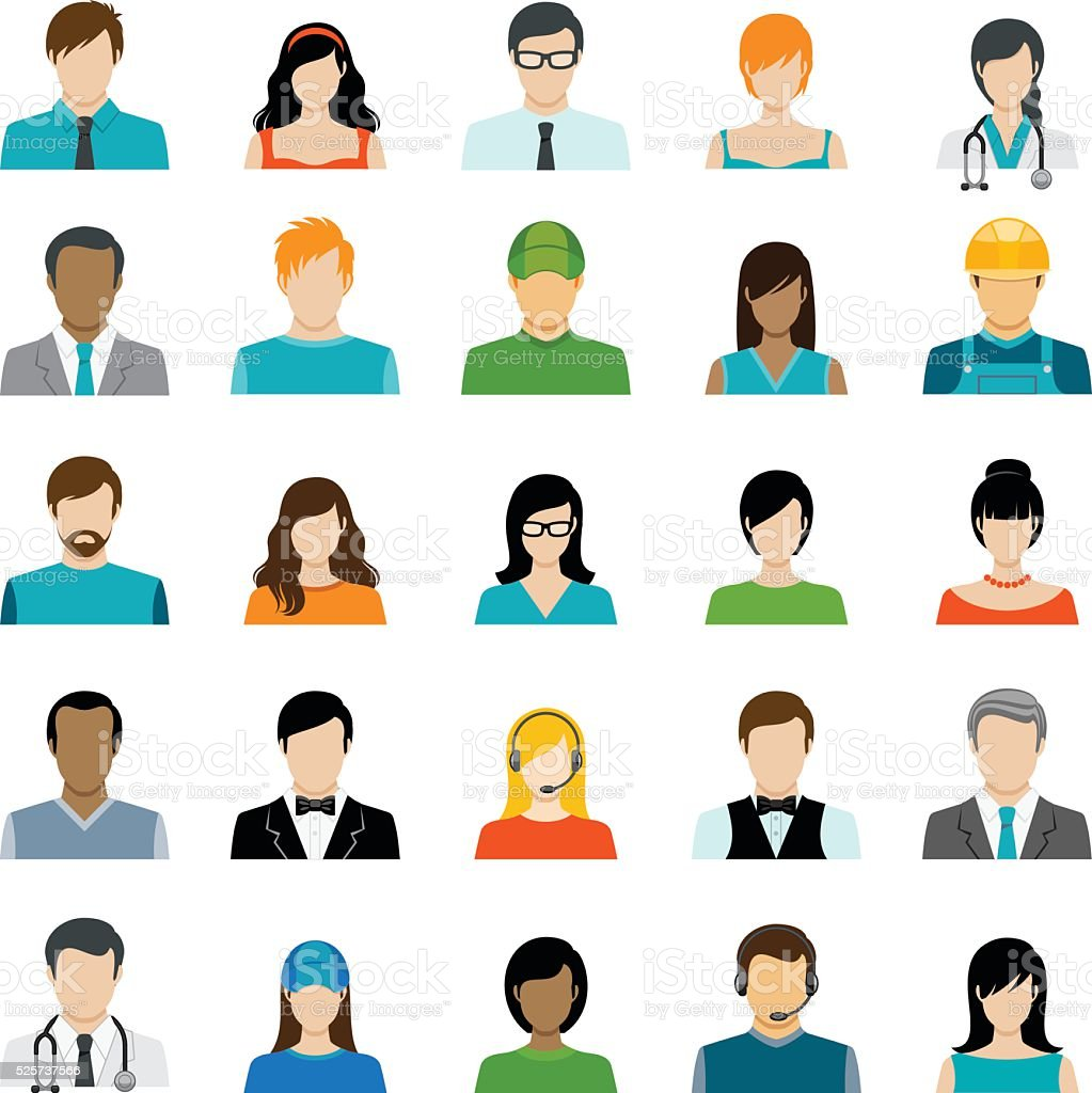 Set of Avatar Color Icons vector art illustration