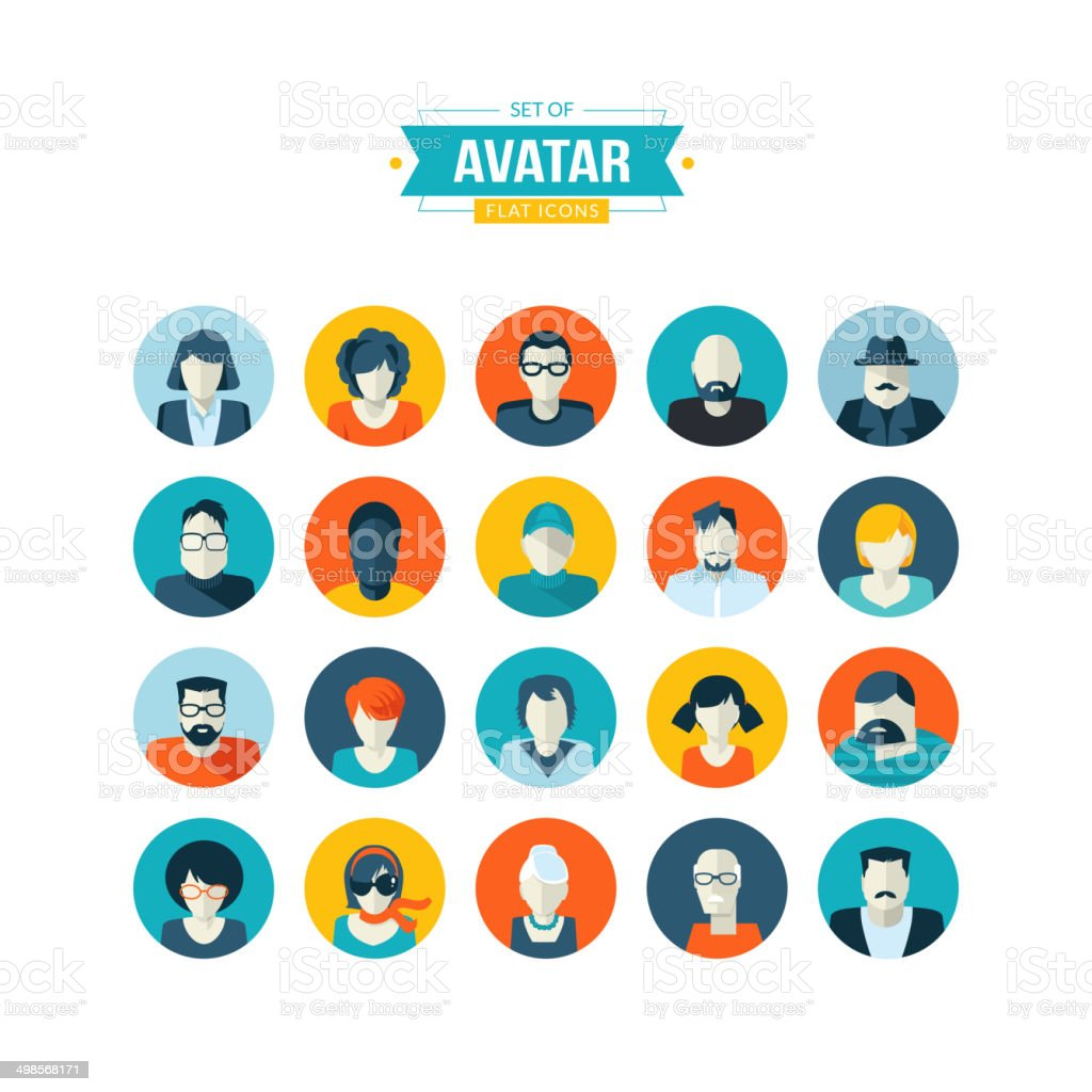 Set of avatar flat design icons vector art illustration