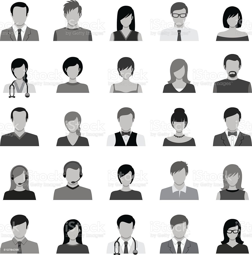 Set of Avatar Flat Icons vector art illustration