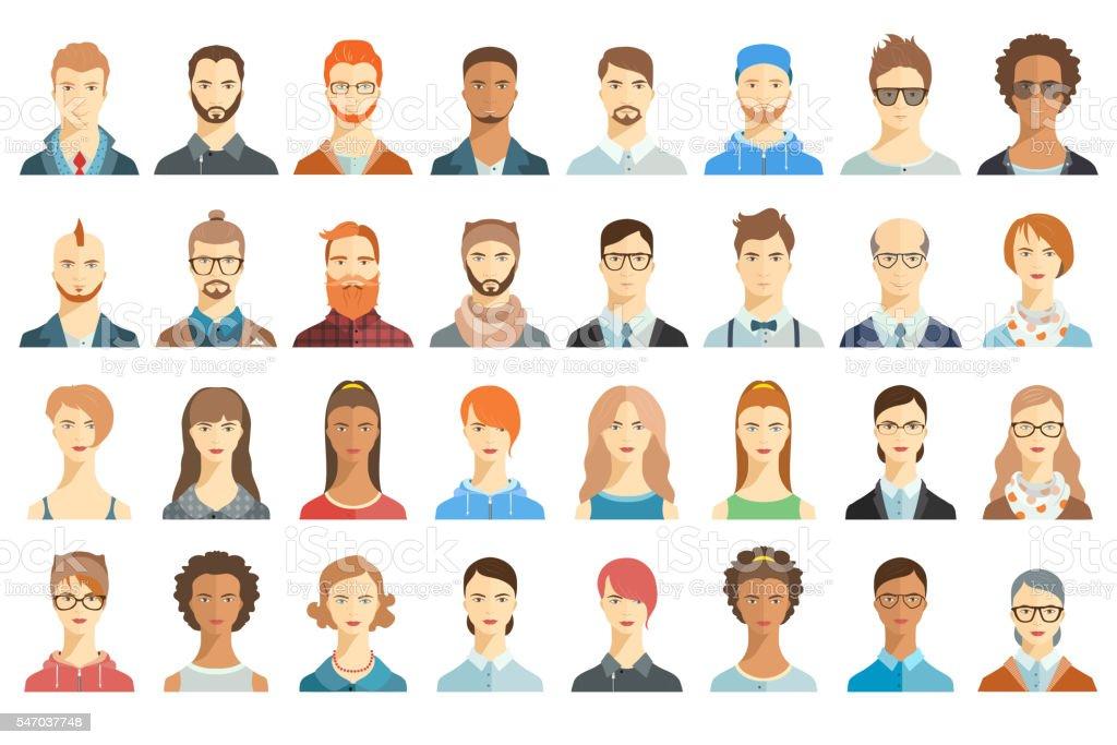 Set of avatar icons. Portraits. vector art illustration