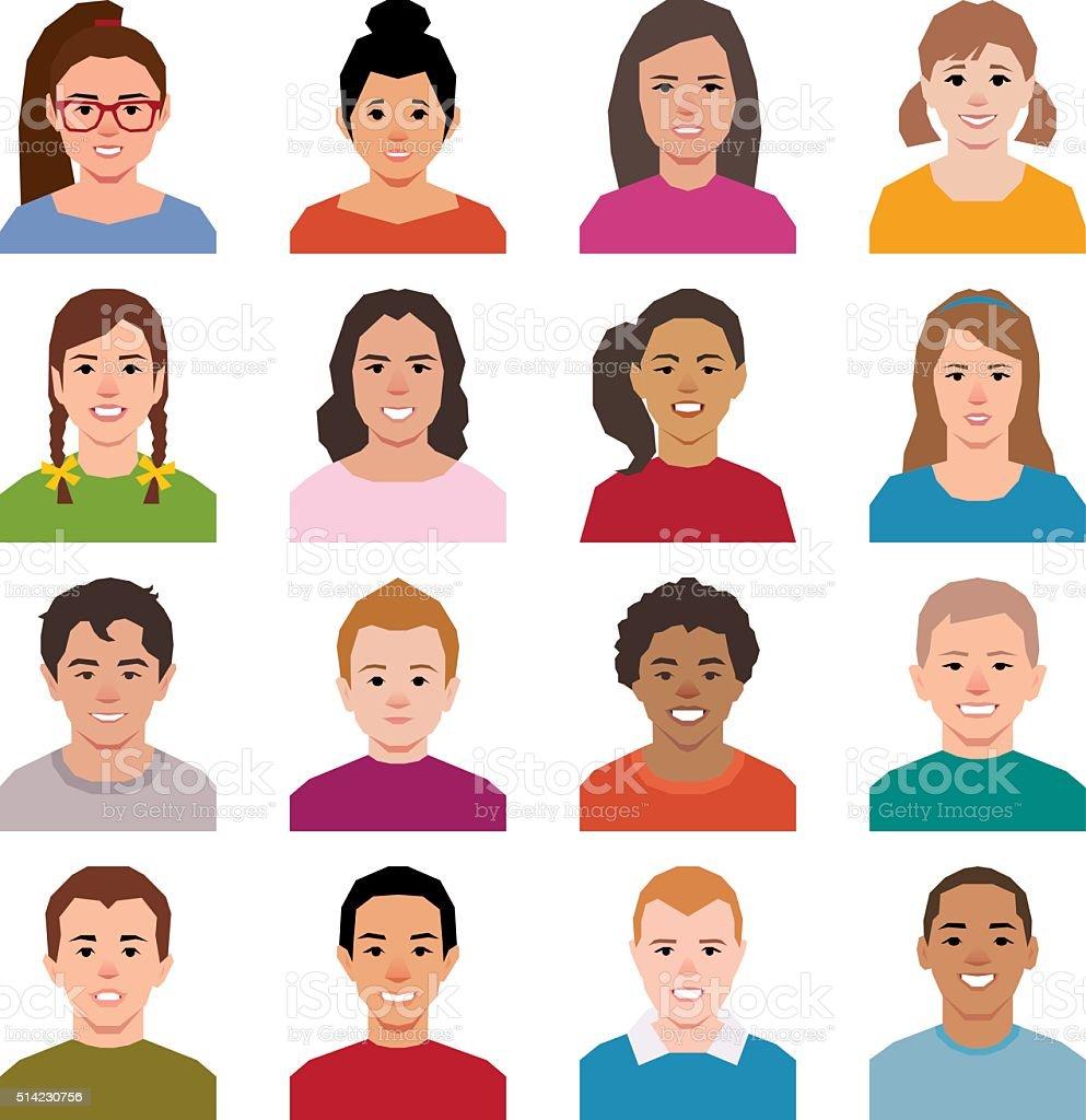 Set of avatars children boys and girls vector art illustration