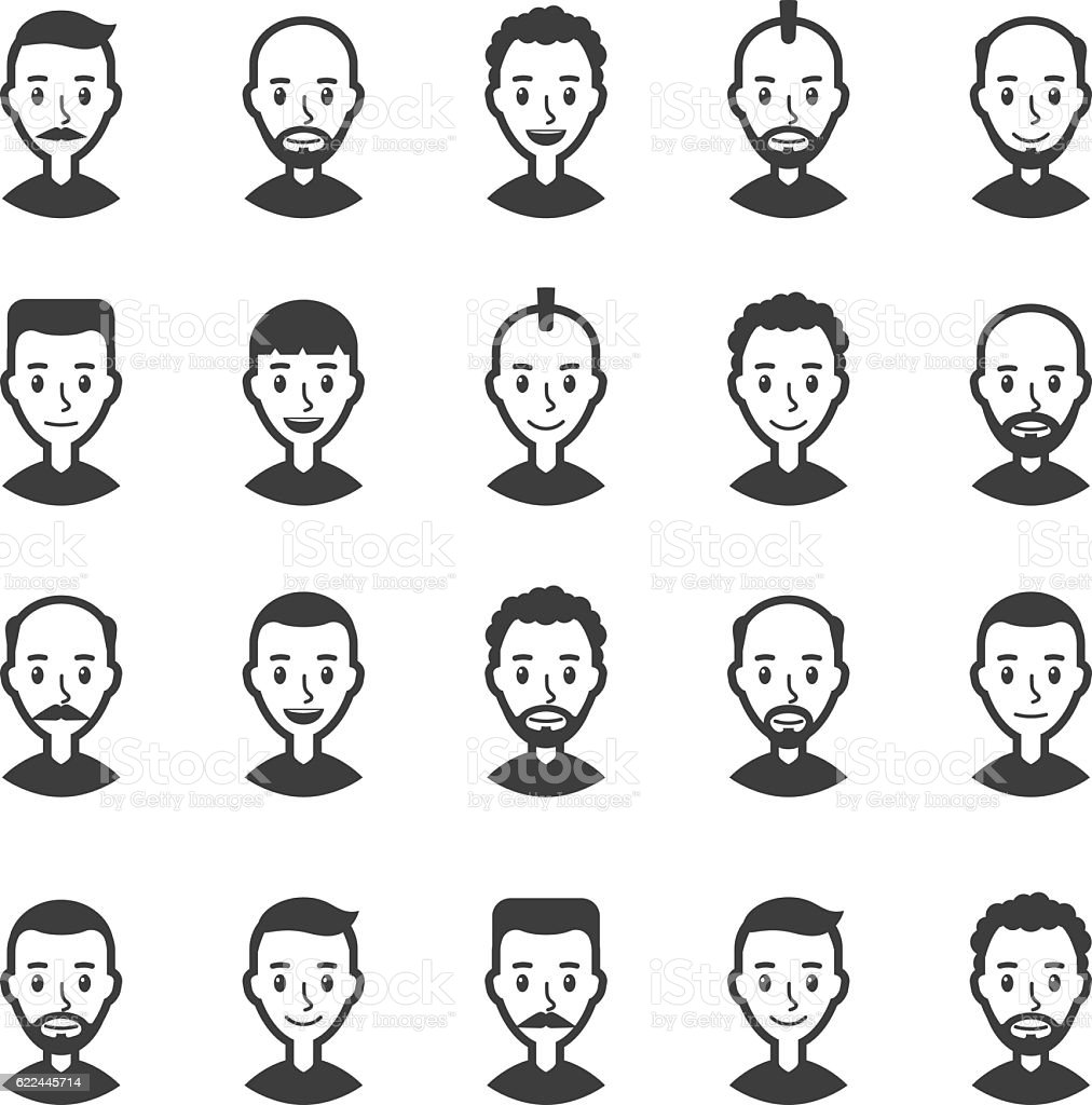 Set of avatars men. User icon. Faces of cartoon characters vector art illustration