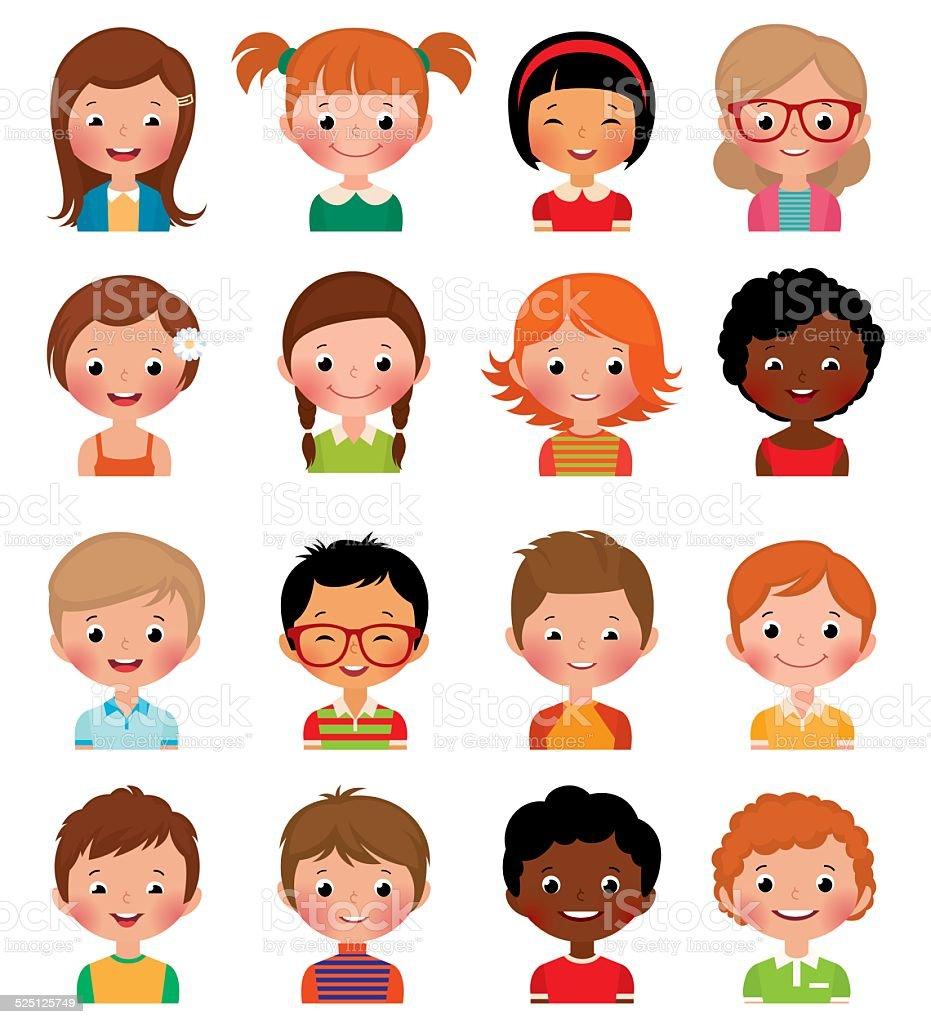 Set of avatars of different boys and girls vector art illustration
