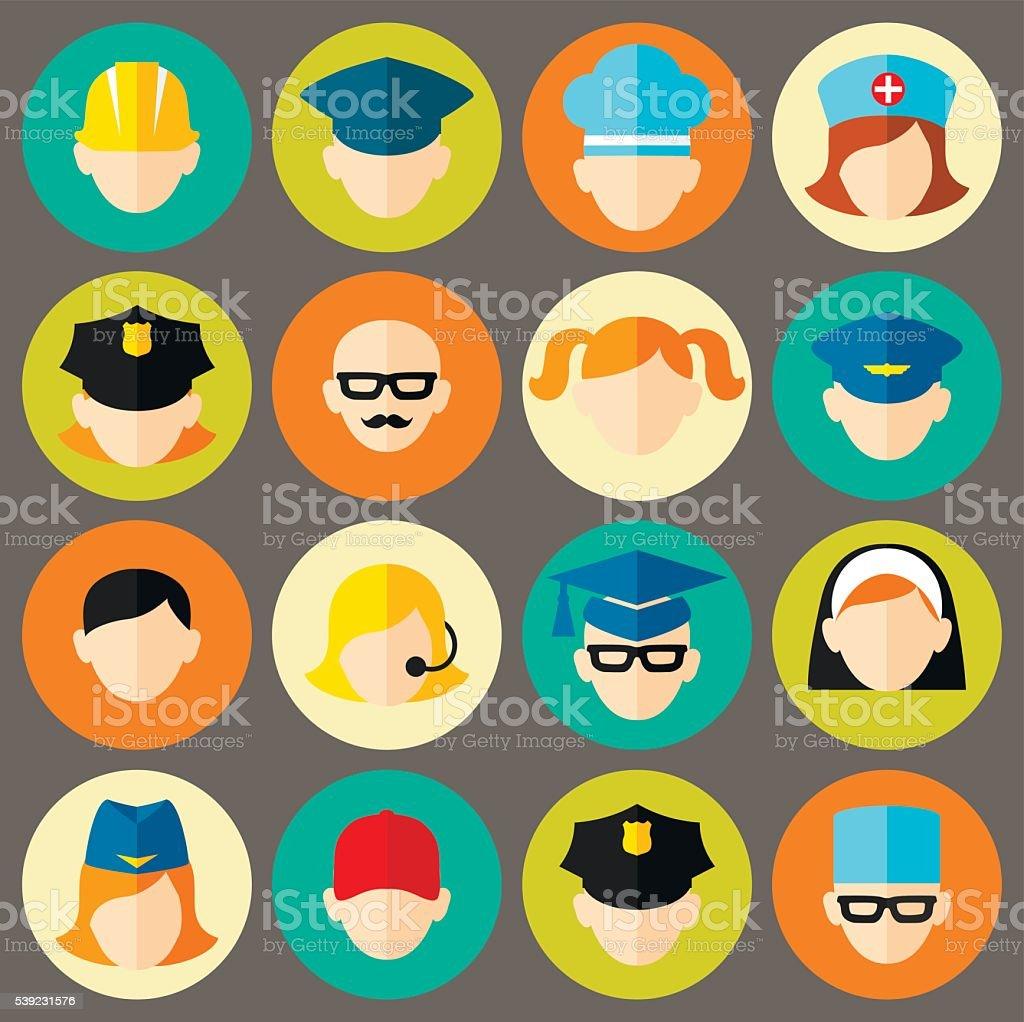 Set of avatars people . Flat style vector icons set vector art illustration