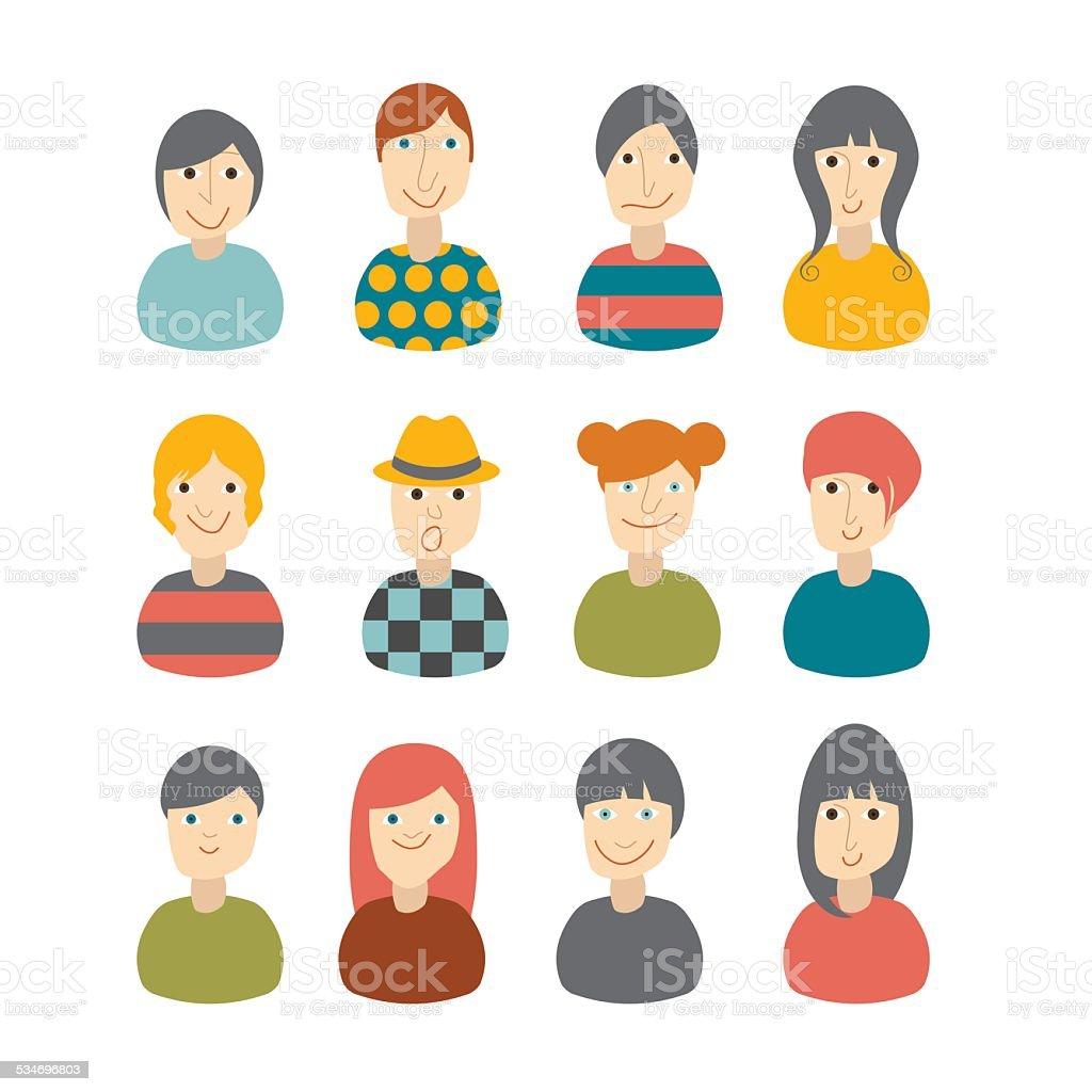 Set of avatars profile pictures flat icons. Vector illustration. vector art illustration