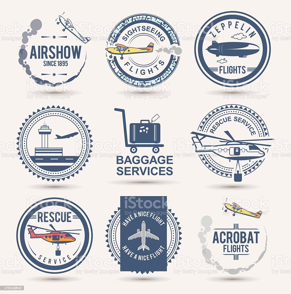 Set of aviation badges vector art illustration
