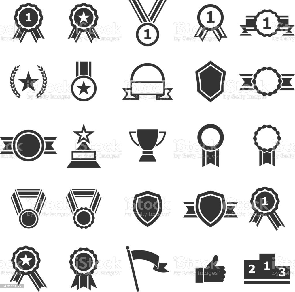 Set of award icons on white background vector art illustration