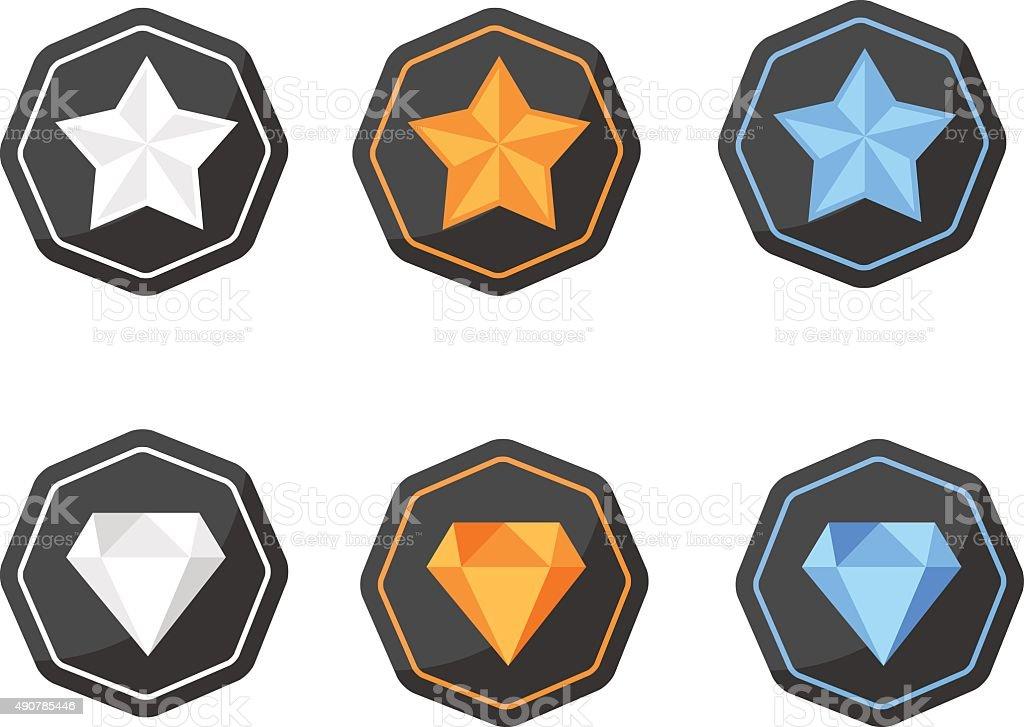 Set of Awards Icons stars and diamonds silver, platinum, gold vector art illustration