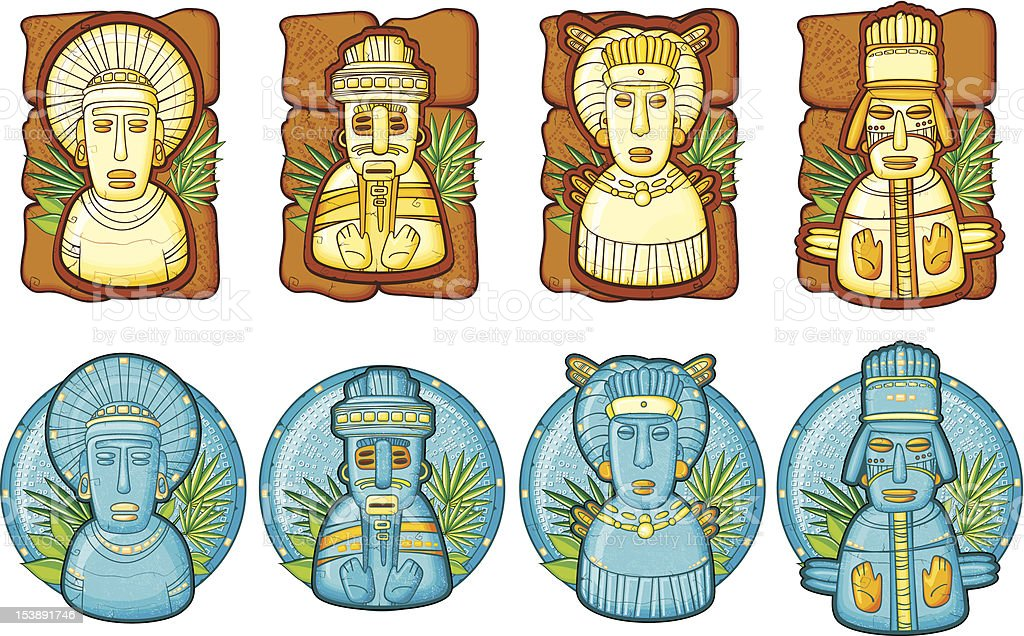 Set of aztecs masks vector art illustration