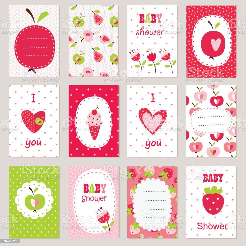 Set of baby cards vector art illustration