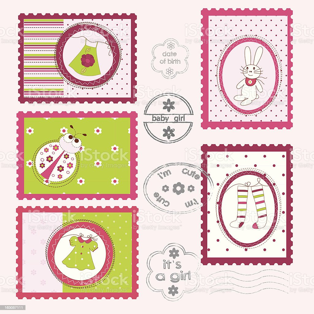 Set of Baby Girl Postage Stamps vector art illustration