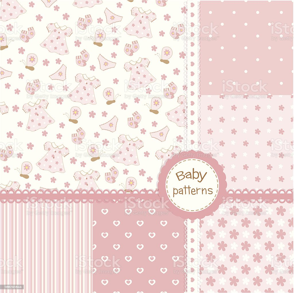 Set of baby girl seamless patterns royalty-free stock vector art