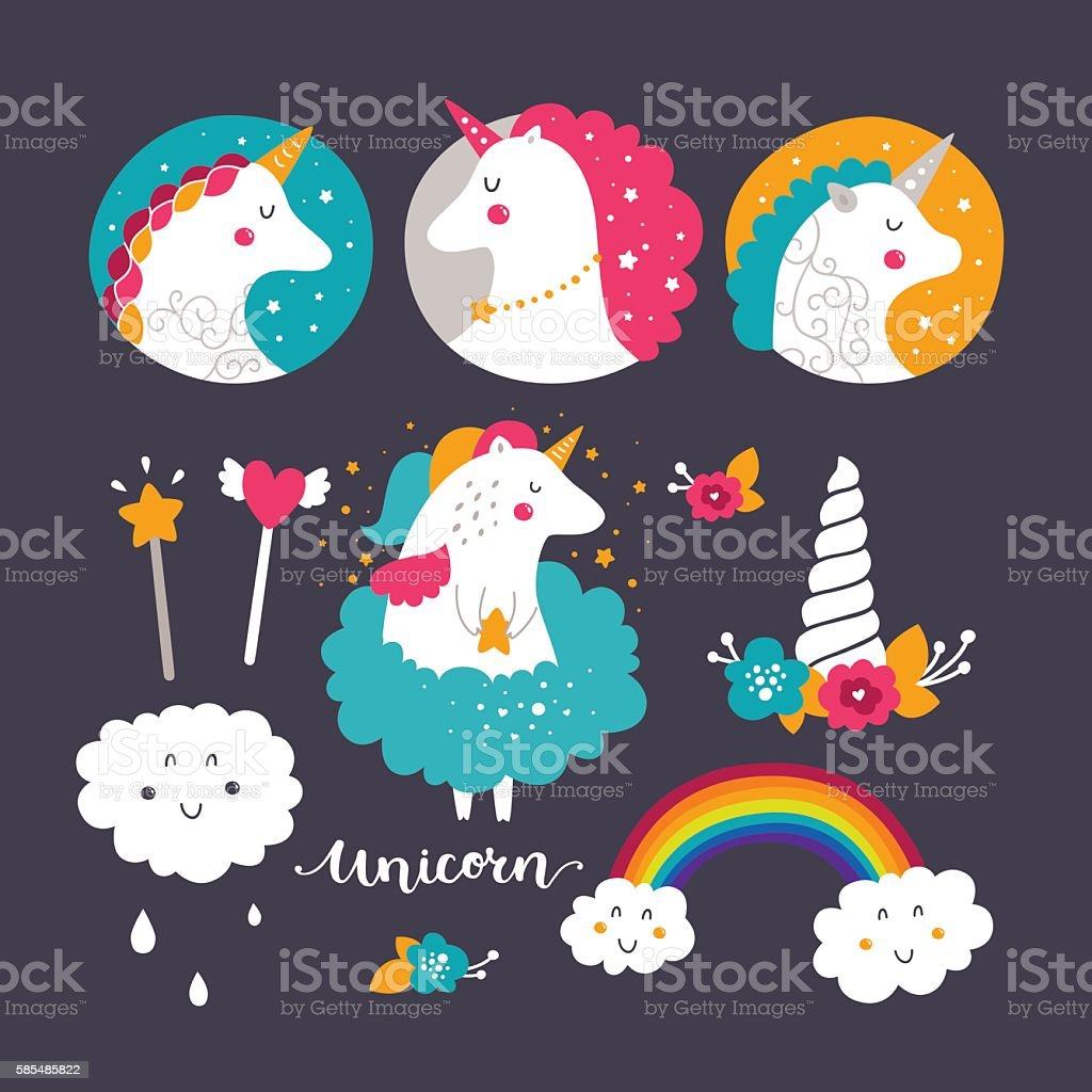Set of baby unicorn and rainbow vector art illustration
