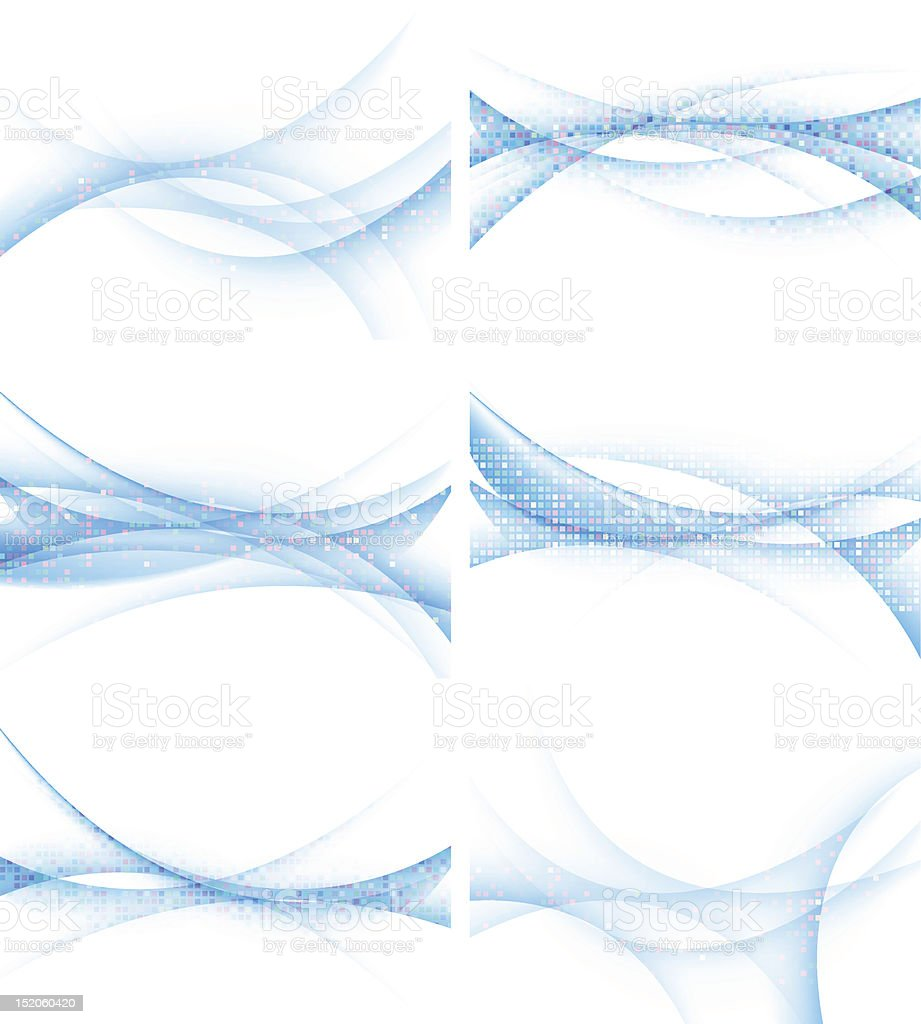 Set of backgrounds with abstract waves, vector illustration. royalty-free stock vector art