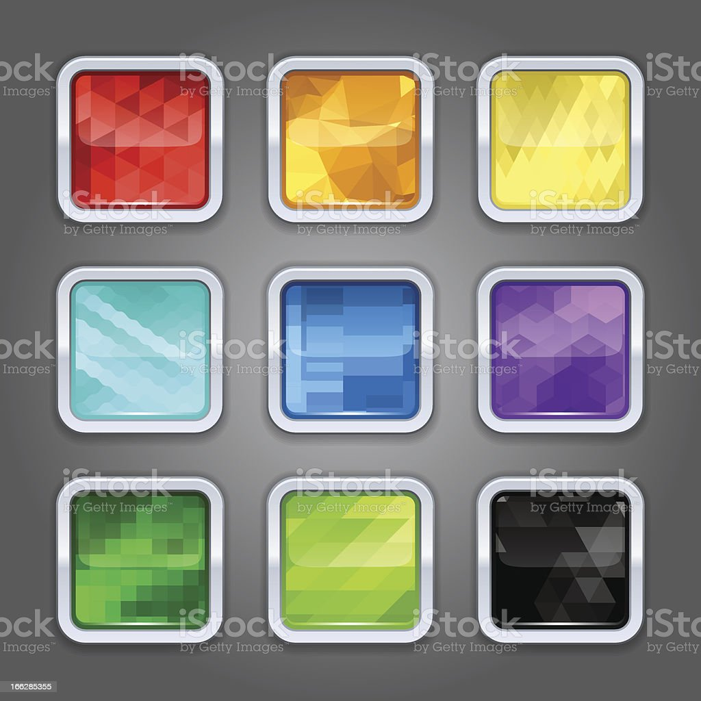 Set of backgrounds with metal border for the app icons. royalty-free stock vector art