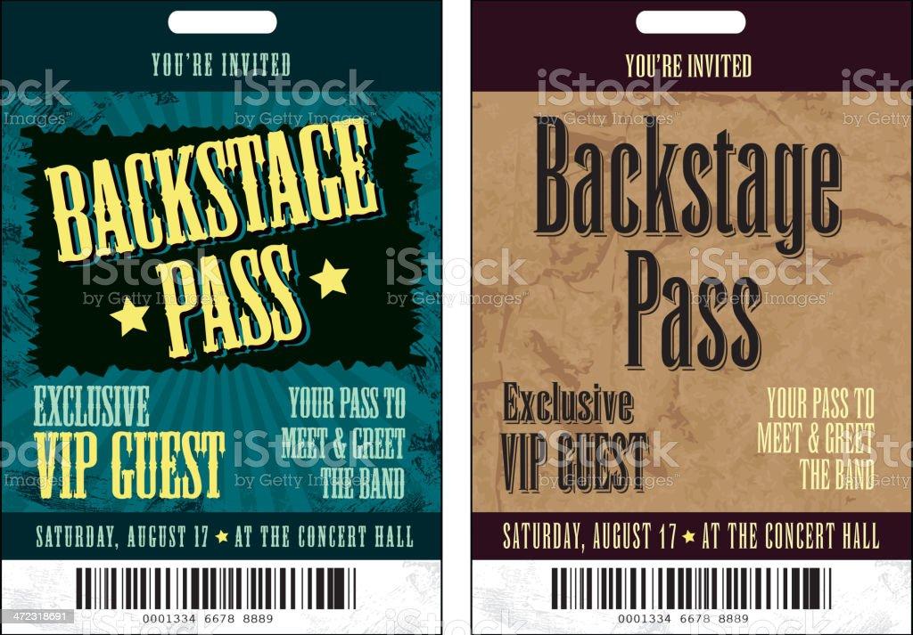 Set of Backstage Pass template designs vector art illustration
