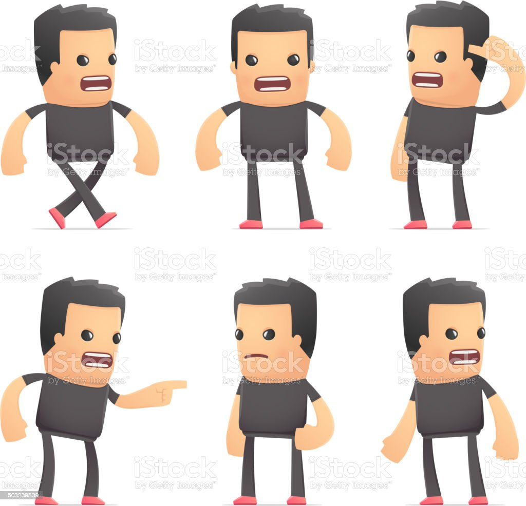 set of bad guy character in different poses vector art illustration