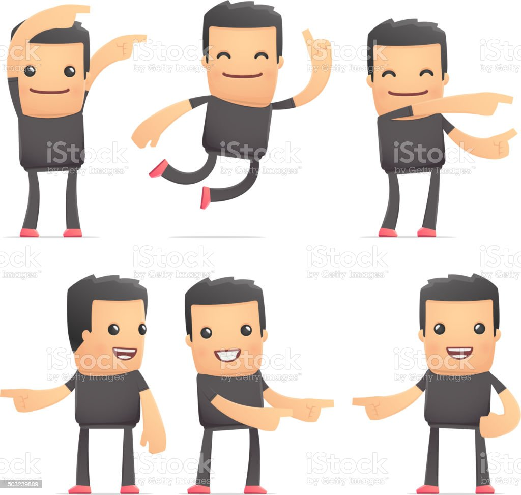 set of bad guy character in different poses royalty-free stock vector art
