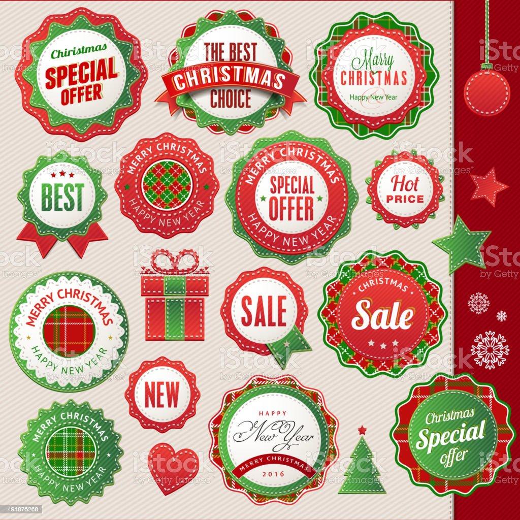 Juego de tarjetas y elementos para Navidad y Año Nuevo illustracion libre de derechos libre de derechos