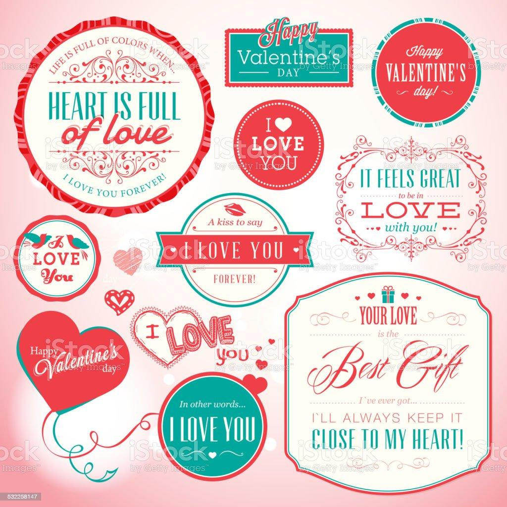 Juego de tarjetas y elementos para San Valentín illustracion libre de derechos libre de derechos