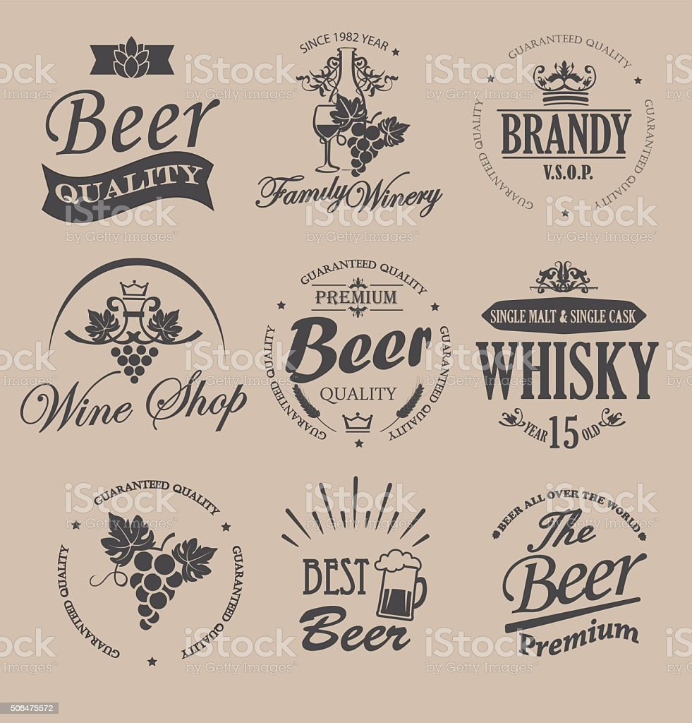 Set of badges and labels elements for alcohol drinks. vector art illustration