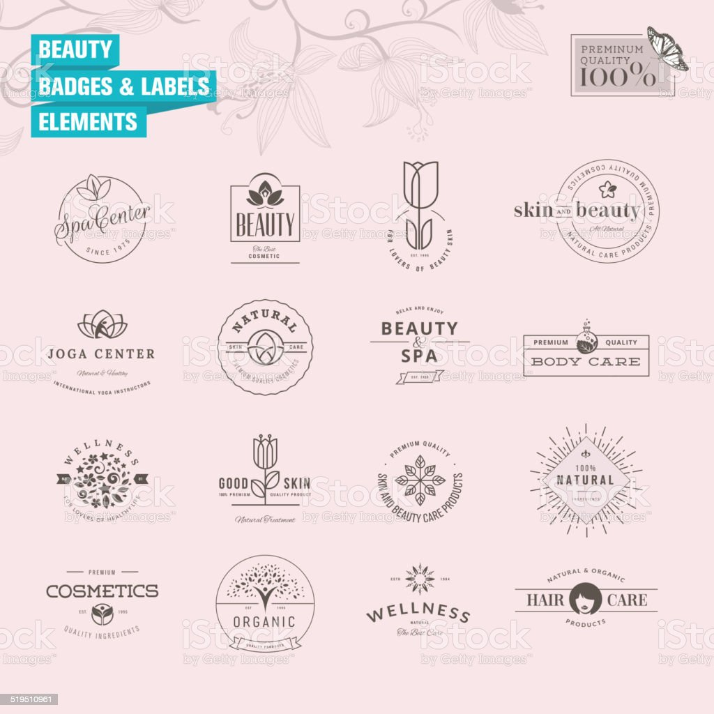 Set of badges and labels elements for beauty vector art illustration